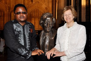 Rotimi Babatunde, 2012 Caine Prize Winner; Bust of Sir Michael Caine; Baroness Emma Nicholson.