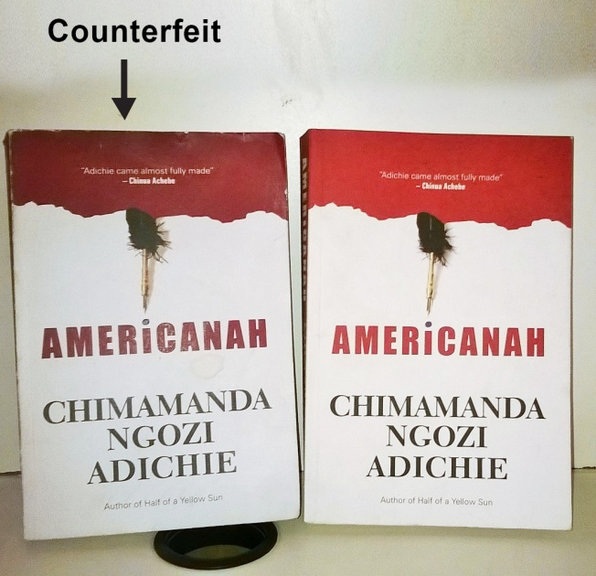 Counterfeit copy of Americanah on the right of the picture. The original is on the left.