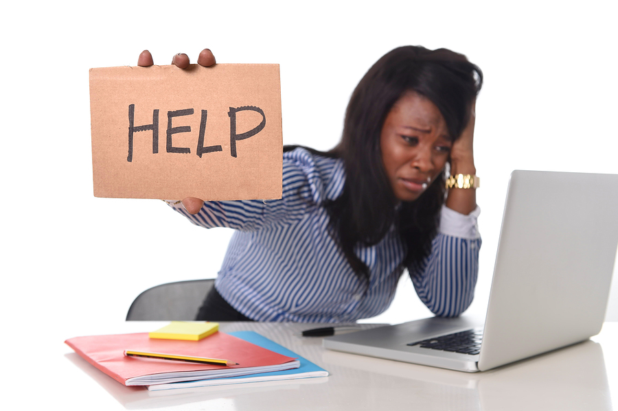 Black African American Ethnicity Frustrated Woman Working In Str